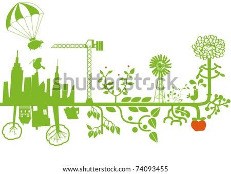 vector - green city under construction - stock vector