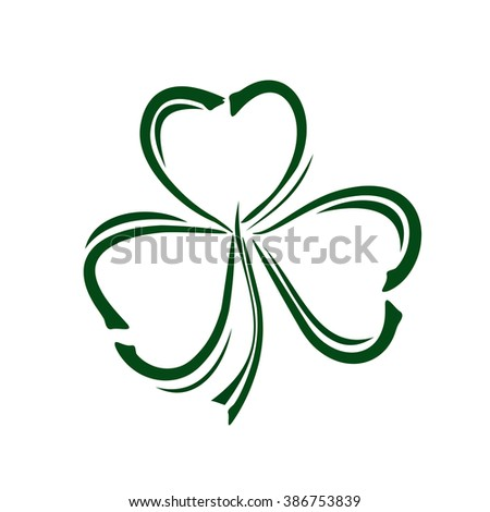 Vector green clover icon.  Shamrock clover.  Clover doodle style icon. Trefoil. Trifoliate clover. Vector clover icon. Green leaf clover. St. Patrick's Day celebration symbol. Vector illustration