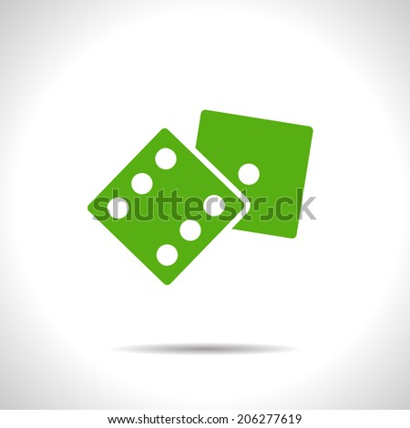 Vector green dice flat icon with shadow. Eps10 - stock vector