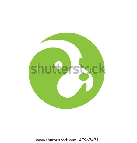 Vector Green Dog in Circle Mode Logo