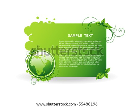 vector green earth background illustration - stock vector
