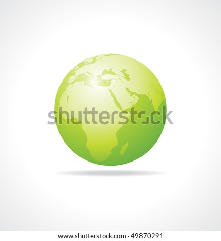 vector green earth on a white background