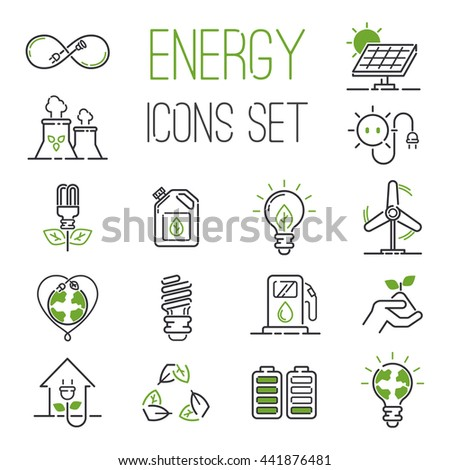 Vector green eco energy icons set. Energy icons power set battery oil environment nature. Nuclear house atom renewable energy icons. Light bulb electricity water nature eco renewable industry. - stock vector
