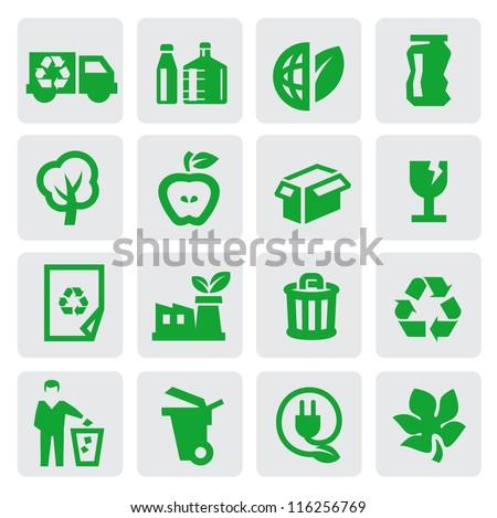 vector green eco energy icons set on gray - stock vector