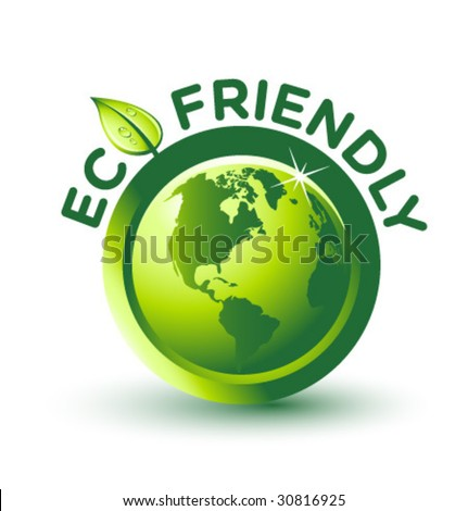 Vector Green ECO FRIENDLY Label - stock vector
