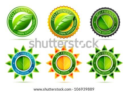 Vector green eco friendly labels - stock vector