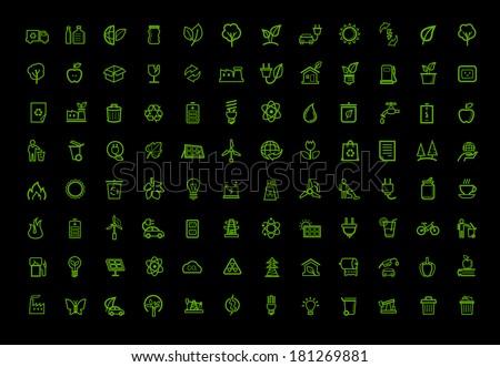 vector green eco icons set - stock vector