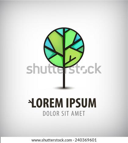 vector green eco tree icon, logo isolated - stock vector