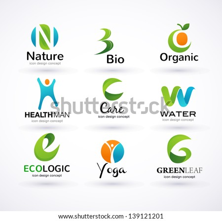 Vector green ecology alphabet - icons and symbols - stock vector
