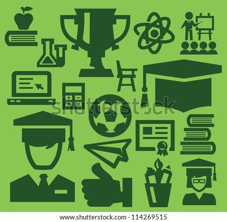 vector green education icon set on green - stock vector