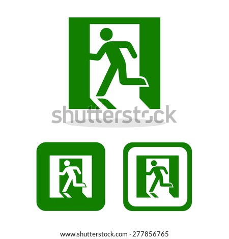 Vector green emergency exit sign on white, Illustration EPS10 - stock vector