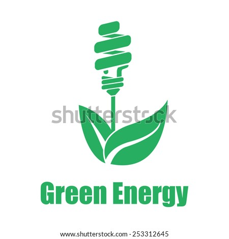 Vector green energy saving white backgroung. Technologies of the future. Flat color eps10