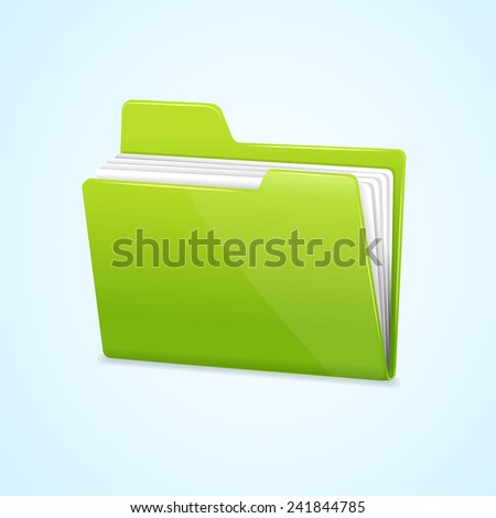 Vector Green file folder icon isolated on blue background - stock vector