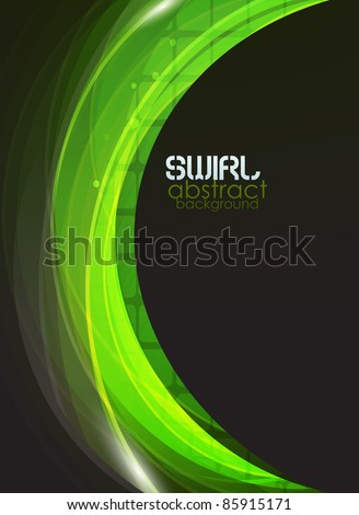 Vector green flow abstract background - stock vector