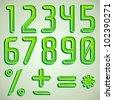 Vector green font numbers digits - stock vector