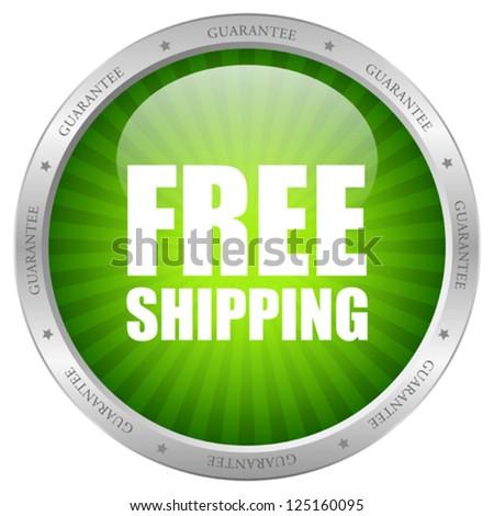 Vector green free shipping icon - stock vector