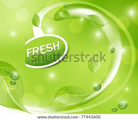Vector green fresh background with leaves and drops - stock vector