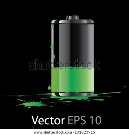 Vector green fuel cell ilustration - stock vector