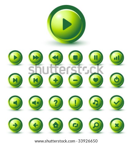 Vector GREEN Glossy Icon Set for Web Applications - stock vector