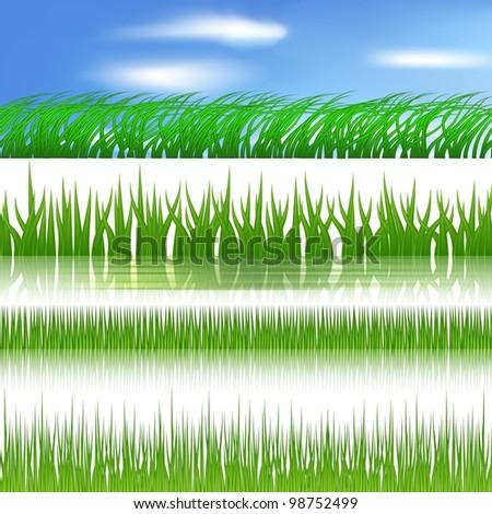 Vector green grass border. - stock vector