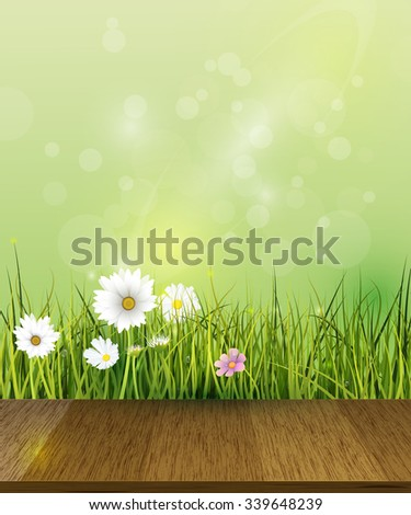 Vector Green grass, field with white Gerbera, Daisy flowers meadow and sun light over wood floor.Water drops dew on green leaves with bokeh effect on yellow-green pastel. Spring nature background.  - stock vector
