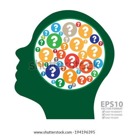 Vector : Green Head With Group of Colorful Question Mark Icon in Brain Isolated on White Background - stock vector