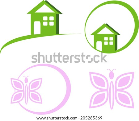 Vector Green House Logo and Butterfly - stock vector