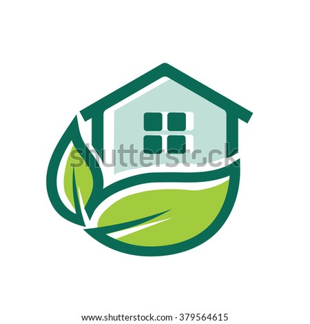 vector green house sign  - stock vector
