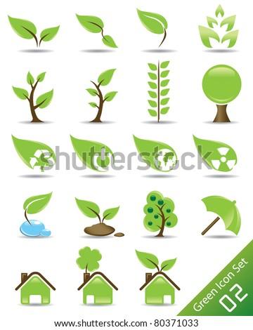 Vector Green Icon Set 02 - stock vector