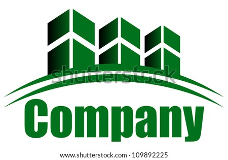 Vector green icon with buildings and space for your text - stock vector