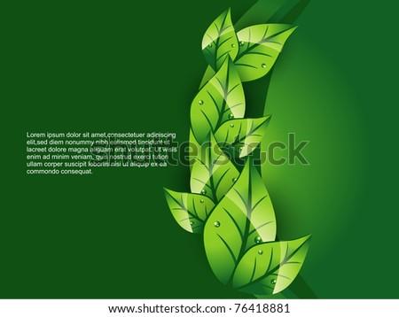vector green leaf background illustration - stock vector