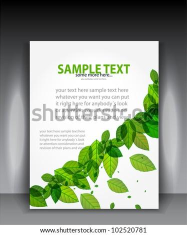 Vector green leaves brochure layout - stock vector