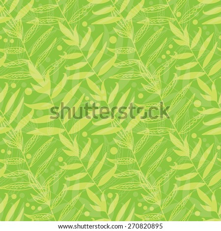 Vector green leaves seamless pattern background - stock vector