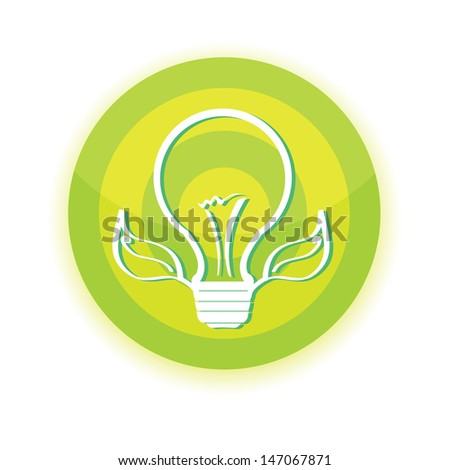 vector green Light bulb with leaf . green energy concept. renewable energy designs , eco icon