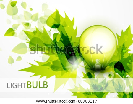 Vector green light. Light bulb and green leaves. Technology and nature connection. Concept - stock vector