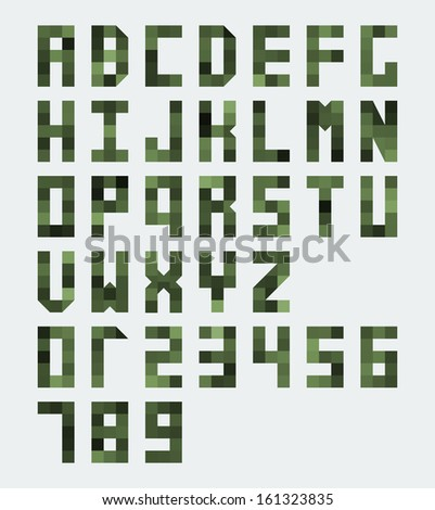 Vector green monospaced font composed of blocks - stock vector