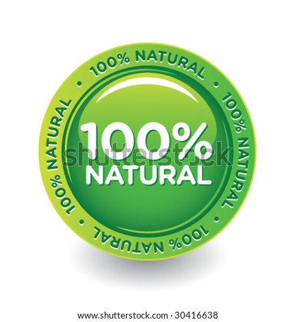 Vector Green 100 % Natural Label - stock vector