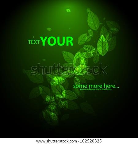 Vector green nature background - stock vector