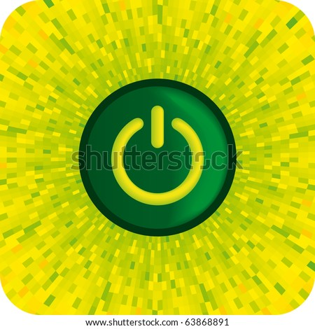 Vector green ON power button with shine yellow background - stock vector