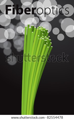 Vector green optic fibers - stock vector