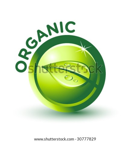 Vector Green ORGANIC Label - stock vector
