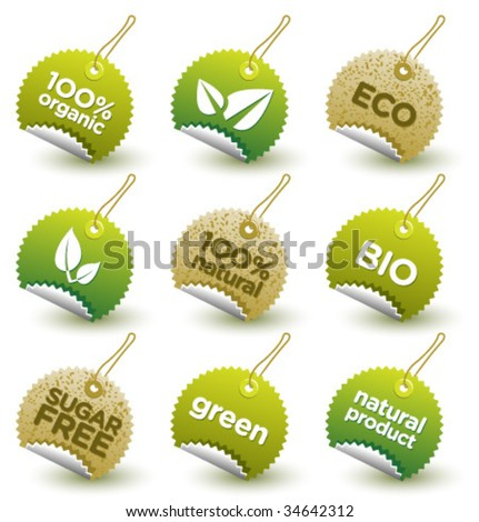 Vector green organic labels [4] - stock vector