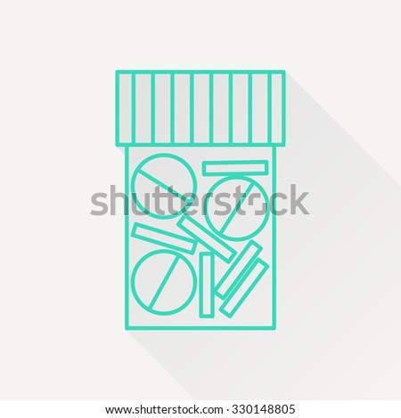 Vector green outline tablet bottle on white background with long shadow . Health icon  - stock vector