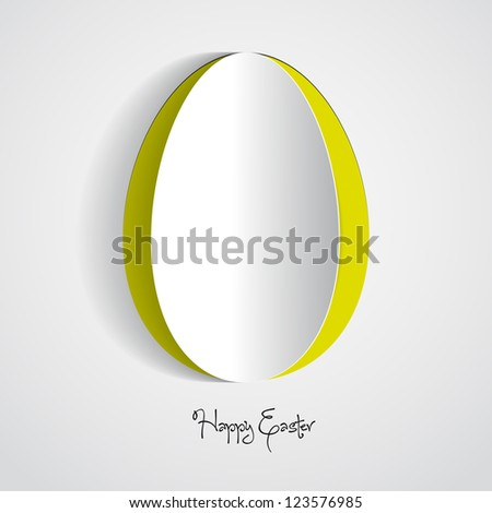 Vector green Paper card with easter egg - stock vector