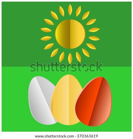 Vector green Paper easter egg card - stock vector
