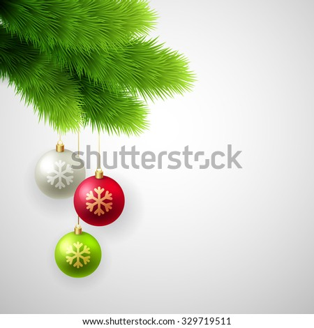 Vector Green Pine branches with white, red and gold balls. Christmas tree decoration. - stock vector
