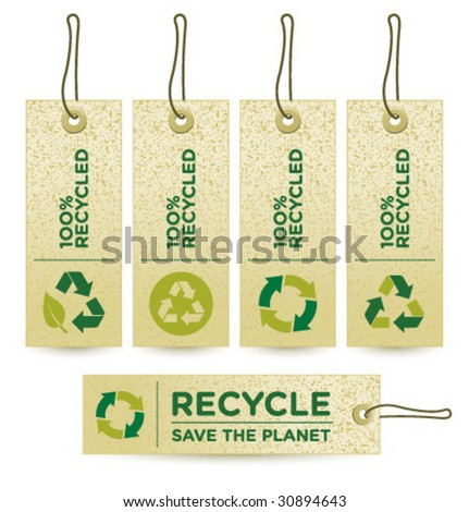 Vector GREEN RECUCLED Labels [3] - stock vector