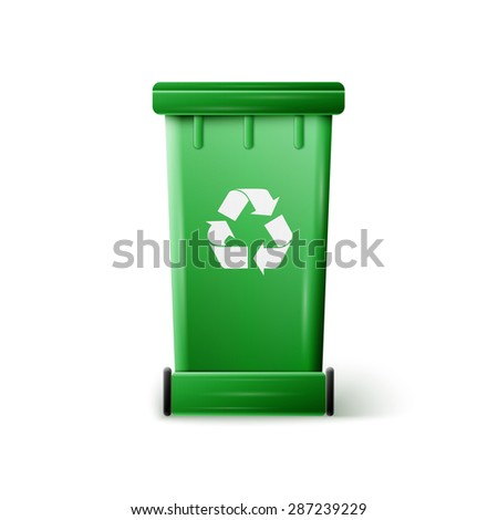 vector green recycle garbage can, excellent vector illustration, EPS 10 - stock vector