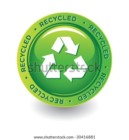 Vector Green Recycle Label - stock vector