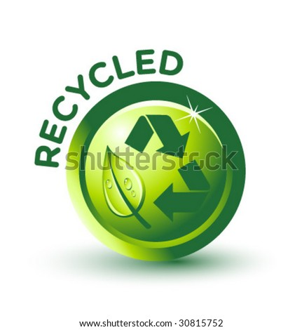 Vector Green RECYCLED Label - stock vector